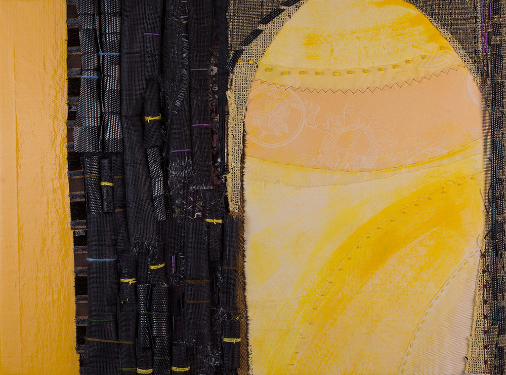 Fabric art piece showing an archway made from black lacy fabric with yellow and blue accents on a shiny yellow background.