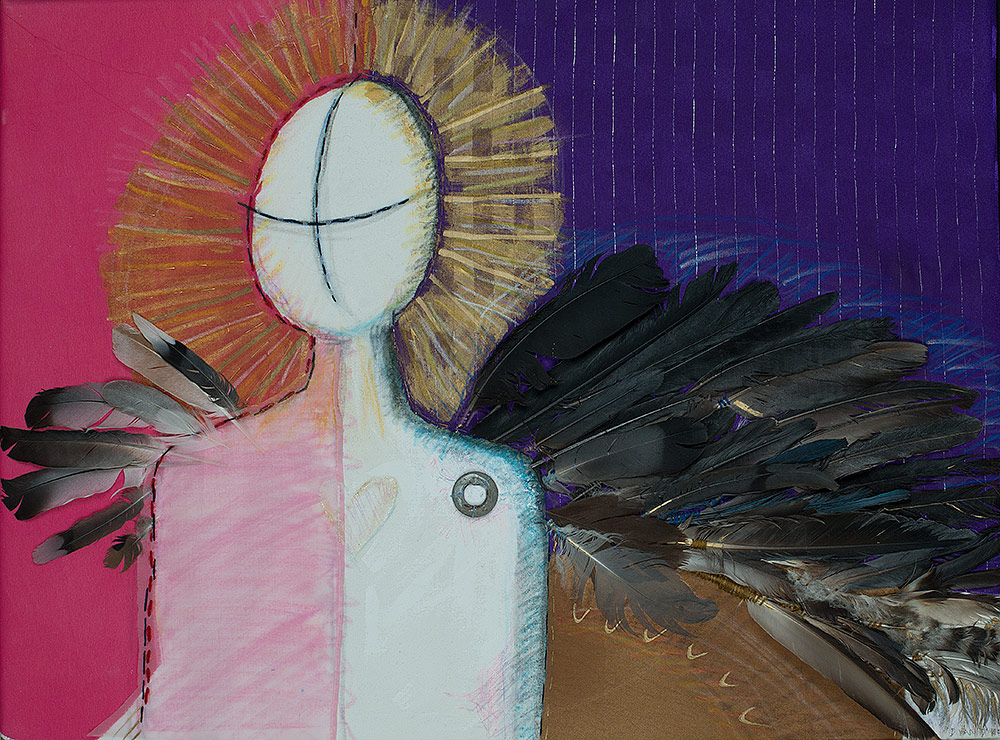 Fabric art piece showing a rough drawing of a person with a golden halo, on a pink and purple background. Dark colored birds feathers make the shape of wings.