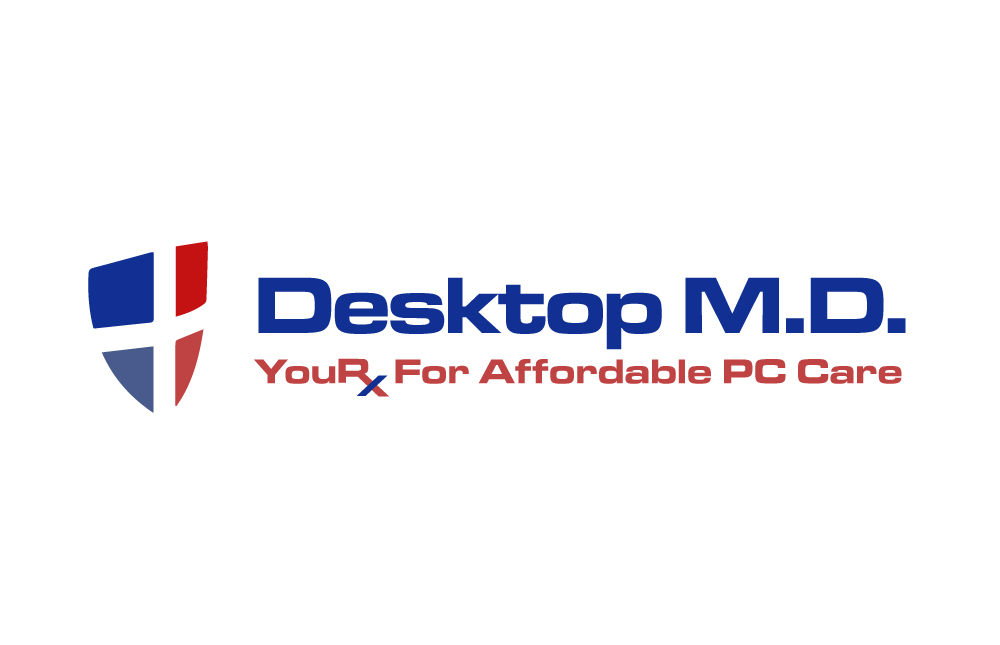 "Blue and red shield with a white cross running through the middle. With the words ""Desktop M.D. Your RX for Affordable PC Care"""