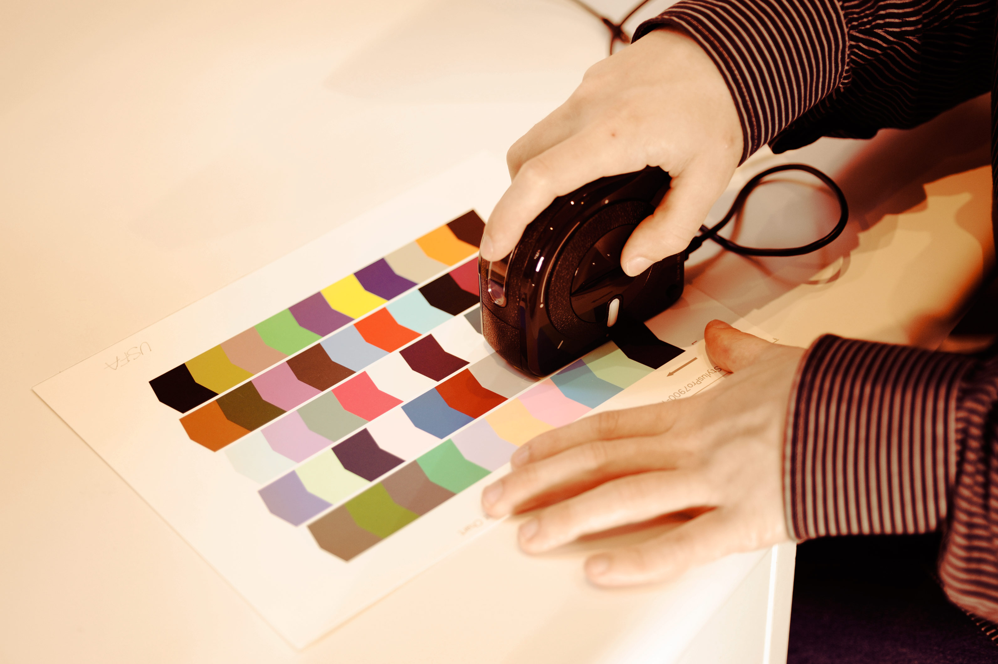 Zac creating a color profile for accurate printing