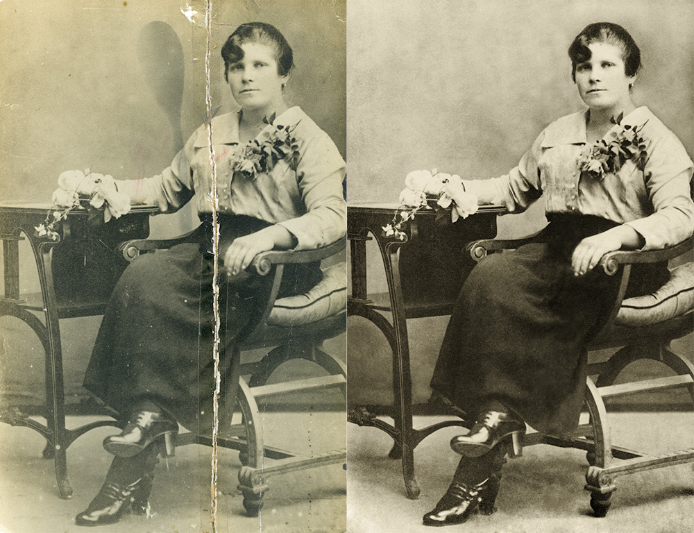 Damaged black and white photo print (left) and digital restored (right)